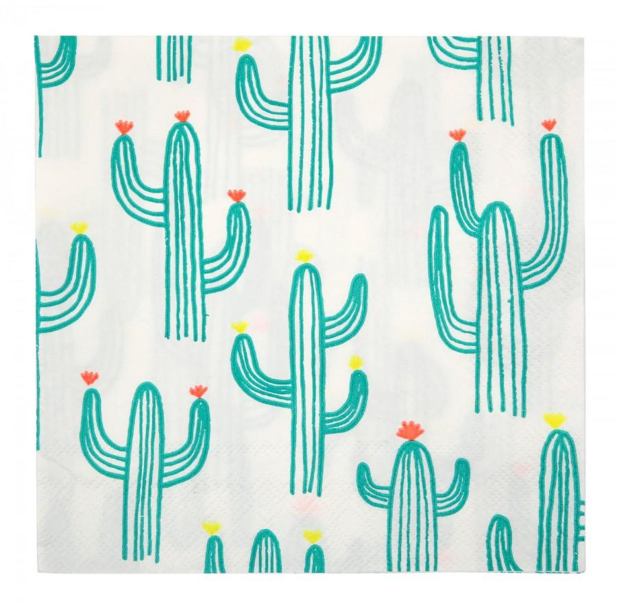 "Wedding - Cactus Napkins (20), Meri Meri Cactus Print Party Supply, Cinco de Mayo Party Decor, Desert Wedding, Fiesta Birthday, 13"" Napkin, Southwest"
