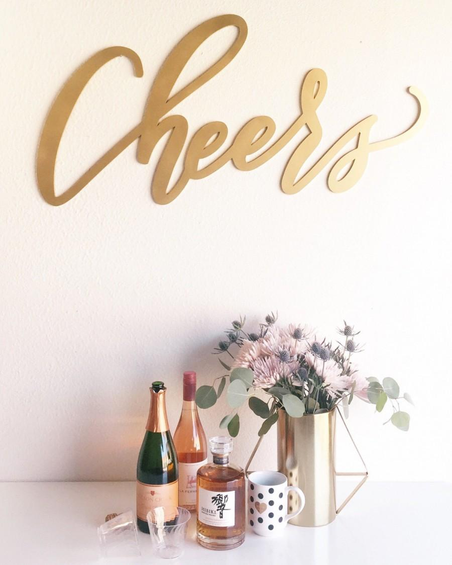 "Mariage - Large Cheers Sign - Wedding Sign - Backdrop Sign - Birthday Sign - Laser Cut Wood 37"" Wide x 18"" tall - Shipped anywhere in USA"