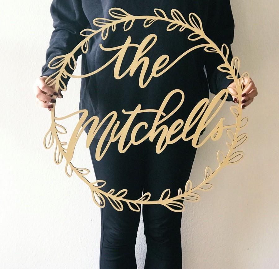 زفاف - 20 inch or 24 inch Custom Name Laser Cut Wreath - Wedding Name Sign