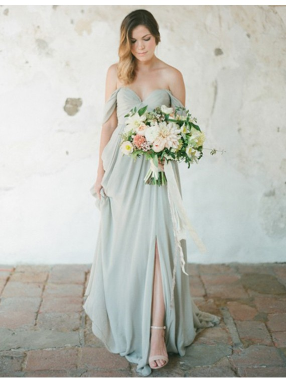 Mariage - Buy Simple Off the Shoulder Backless Sweep Train Grey Bridesmaid Dress with Pleats Grey, from for $289.99 only in Main Website.