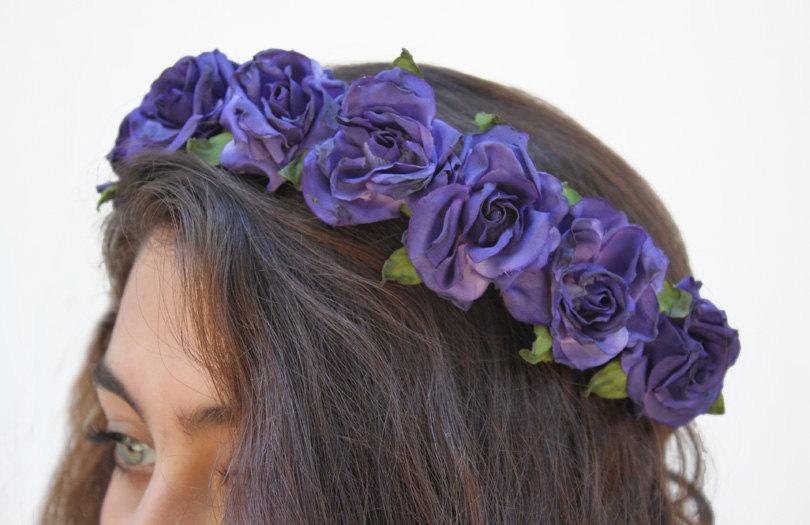 Hochzeit - Purple Blue Rose Crown.  Rose Headband, Flower Crown, Floral Crown, Cobalt, Purple, Blue Rose, Purple, Festival Flower Crown, Gift Idea
