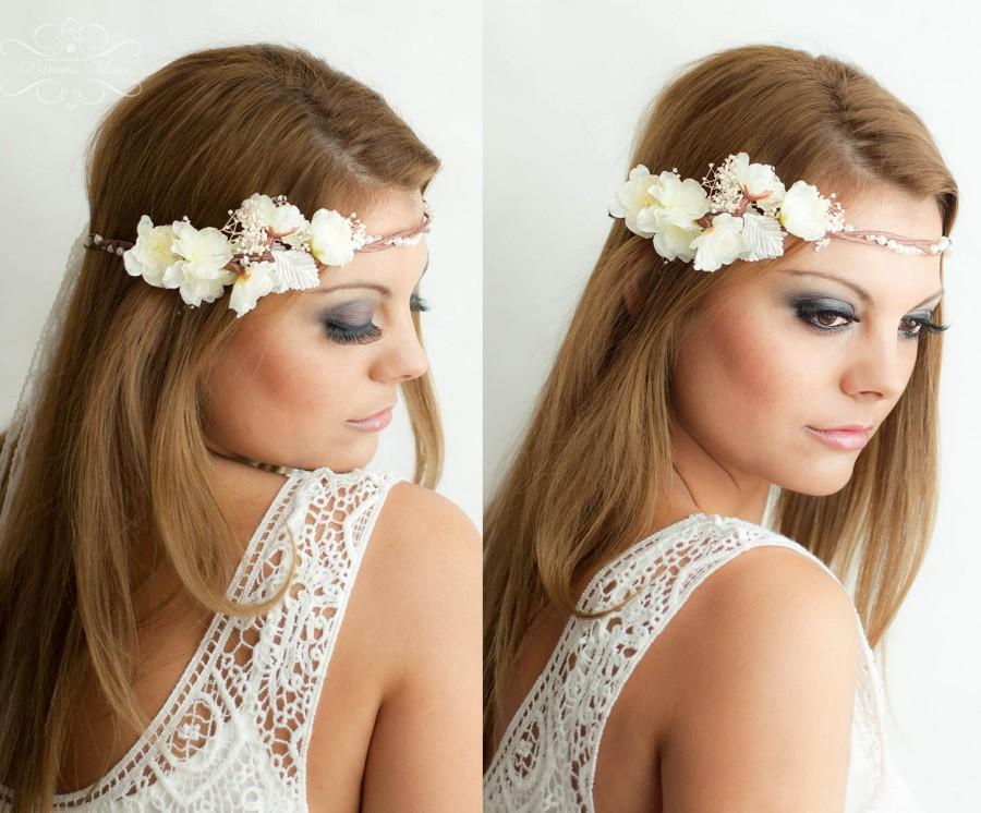 Mariage - Flower Crown, Wedding Tiara, Wedding accessories, Bridal flowers, Fairy Crown,Floral garland, Festival or Bridal Hair Wreath, Hair Flowers