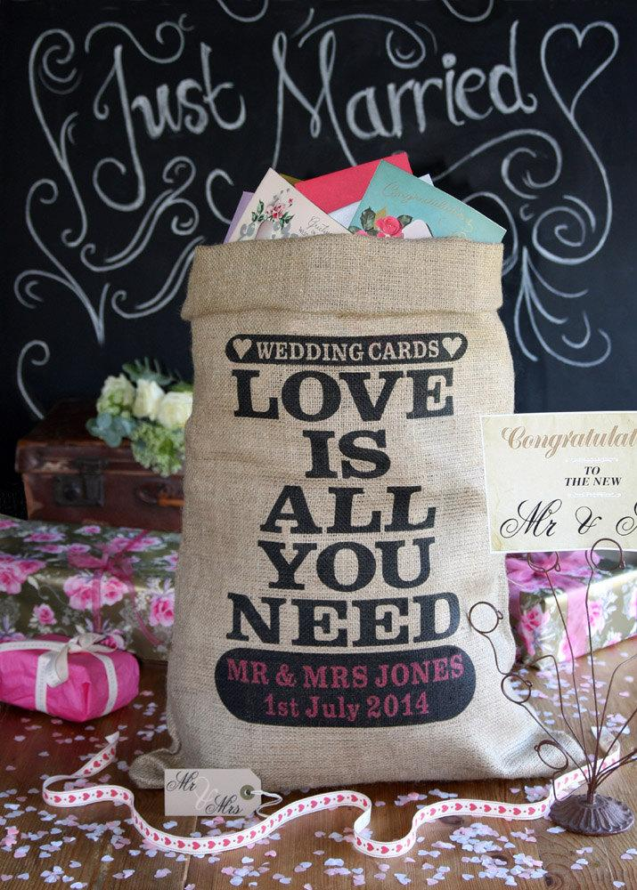 Свадьба - Personalized wedding card post box, burlap sack for wedding cards and presents. Custom wedding card holder, wishing well
