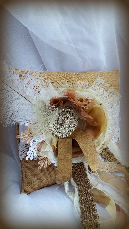 Shabby Chic Burlap Pillows : Wedding Ring Pillow - Shabby Ring Bearer Pillow - Burlap Pillow - Throw Pillow - Shabby Chic ...