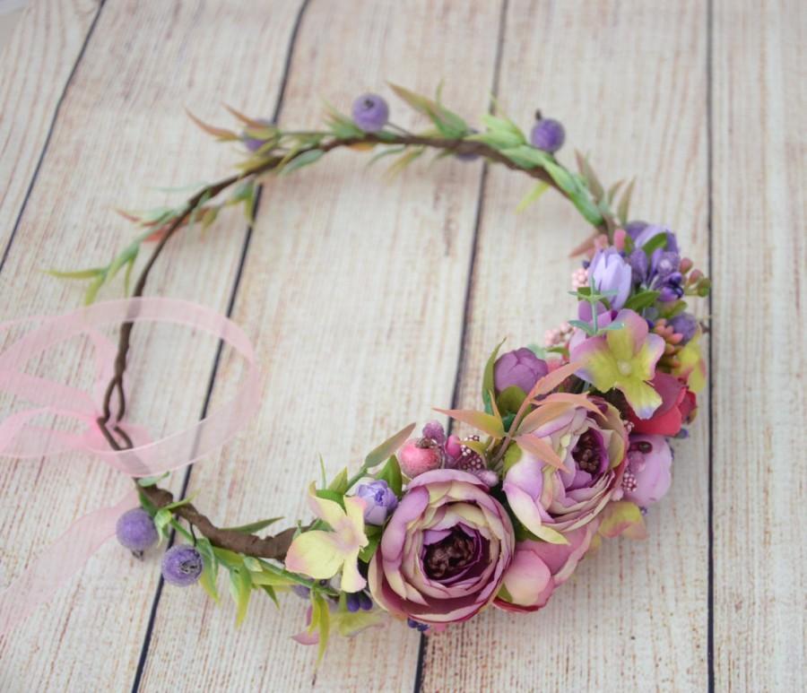 Mariage - Purple flower crown Purple flower headband Wedding flower crown Bridal flower crown Flower girl halo Rustic wedding halo Wedding hair wreath