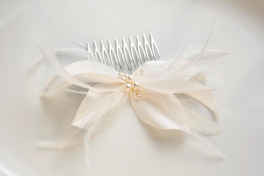 Свадьба - Bridal Silk Dupion Headpiece, Ivory Silk Flower Comb, Silk Headpiece, Floral Hair Comb