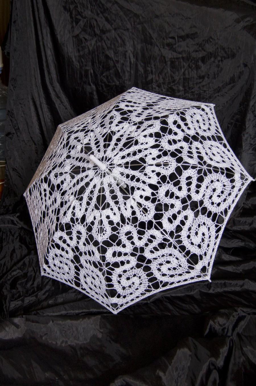 Mariage - Lace Floral Bridal Parasol Photo Shoot Movie Session Victorian White Vintage Wedding Accessories Crochet Sun Umbrella Parasol Theatre Props