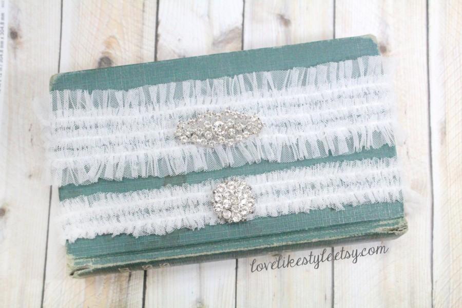 Hochzeit - Jeweled White Tulle Garter Set, Rhinestone Tulle Garter, Toss Garter , Keepsake Garter