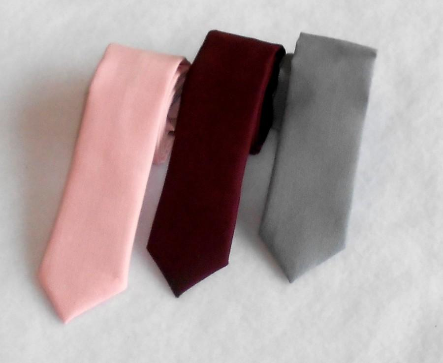 Mariage - Pink, Burgundy, or Gray Tie - Skinny or Standard Width - Infant, Toddler, Boy- 2 weeks before shipment      Easter is April 16th!