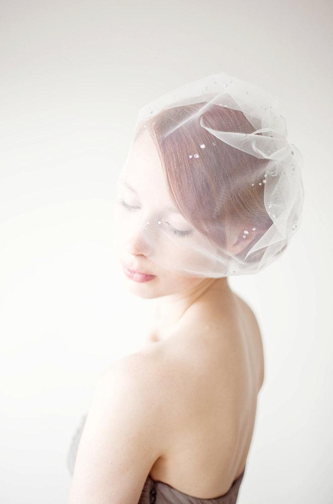 Mariage - Bridal veil crystal blusher veil, Birdcage veil - Shining Stars