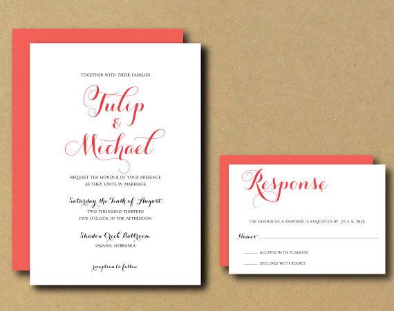 Mariage - Printable Custom DIY Wedding Invitation - Tulip Chic Calligraphy