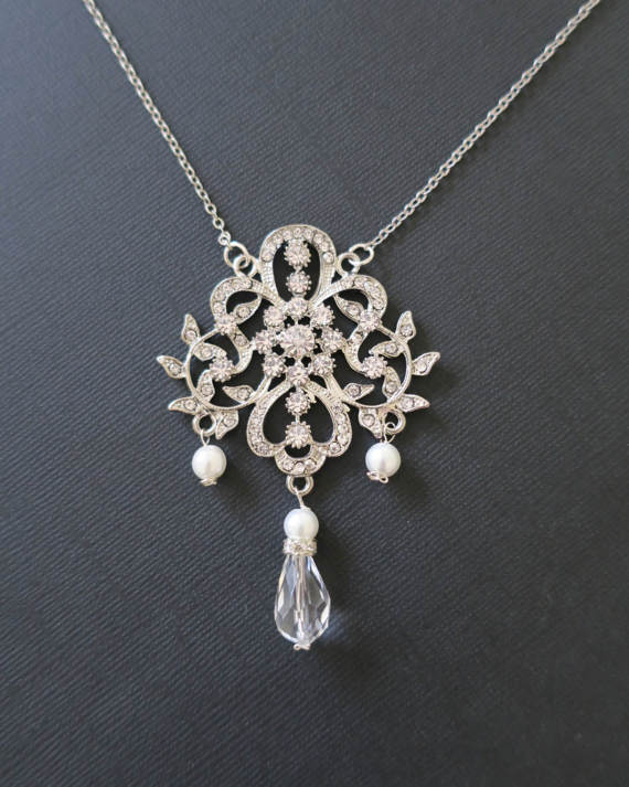 Hochzeit - Crystal Bridal Necklace Art Deco Wedding Jewelry Statement Drop Bridesmaid Necklace Vintage Leaves Flower Rhinestone Silver Filigree Sukran