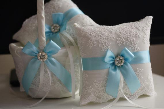 Hochzeit - Sky Blue Wedding Pillow Basket Set  Blue Flower Girl Basket  Blue Ring Bearer Pillow  Lace Ring Holder  Sky Blue Bearer, Sky Blue Basket