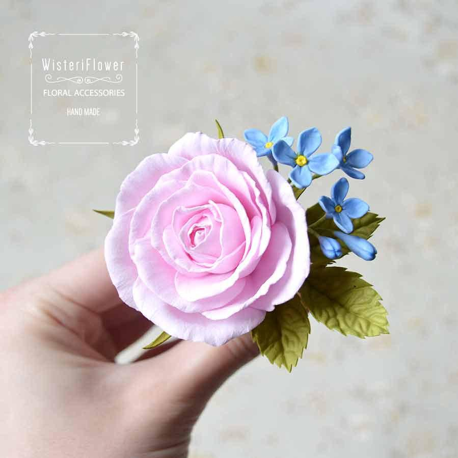 Hochzeit - Rose hair pin Pink wedding roses jewelry Summer Boho chic hair accessories Shabby chic romantic gift for her lilac flower hair clip Girl