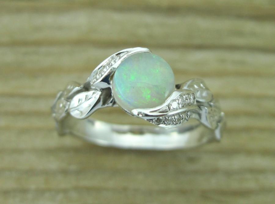 زفاف - Opal Leaf Ring, Opal Engagement Ring, Opal Ring Gold 18k, Engagement Ring, Natural Floral Leaves Opal Ring, Opal Leaf Engagement Ring