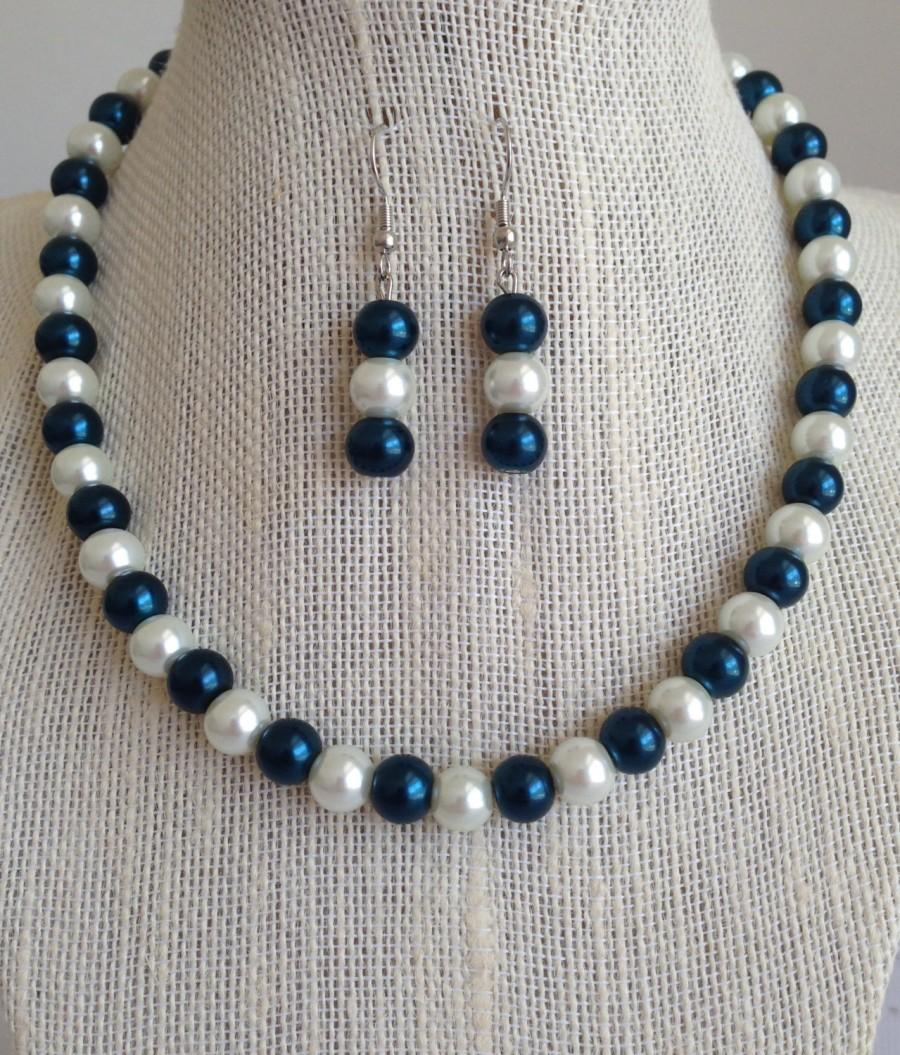 Wedding - Navy Blue Bridesmaid Jewelry, Dark Teal Blue and White Pearl Necklace Set, Bridesmaid Gift, Blue Beaded Jewelry, Navy Blue Wedding Jewelry