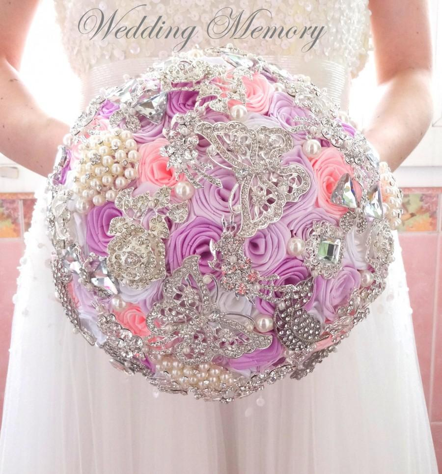 Mariage - BROOCH BOUQUET pink colour. Jeweled with silver brooches butterfly design.