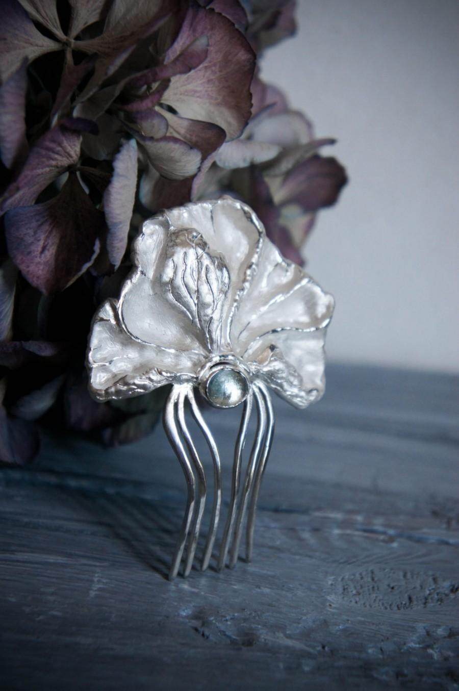 Свадьба - Peony hair comb with blue topaz, sterling silver hair comb, wedding hair comb, bridal hair accessory, flower hair pin, wedding gift