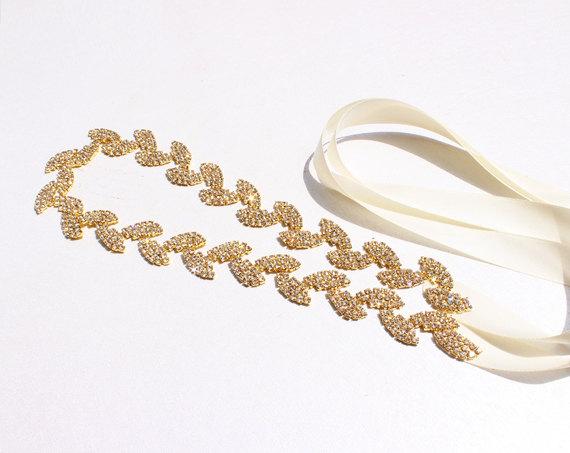 Mariage - Bridesmaid dress belt Gold Leaf Bridal Belt Gold Leaf rhinestone sash belt Gold Leaf Headband Gold wedding Belt bridal sashes and belts