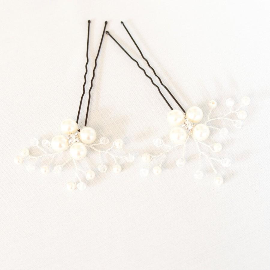 Mariage - Ivory Pearl Wedding Hair Pins. Set of 2 Flower Bridal Hair Pins. Pearl Hair Pin. Wedding Hair Accessories.