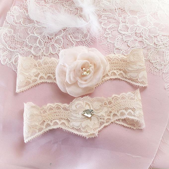 Mariage - Beige Cream Garter Set Blush Champagne Silk Chiffon Flower Rhinestone Bridal Wedding Garter Belt Prom Honeymoon Elegance Keepsake