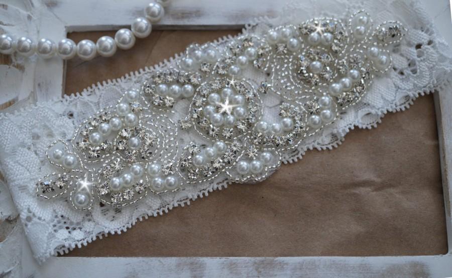 Wedding - Wedding Garter, Bridal Garter, Vintage Wedding, Lace Garter, Crystal Garter, Pearl Garter -Style 200