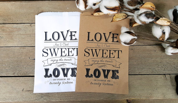 Wedding - Wedding Favor Bags -Favor Bags- Candy Buffet-Personalized Treat Bags-Sweet Table-Love Sweet Love