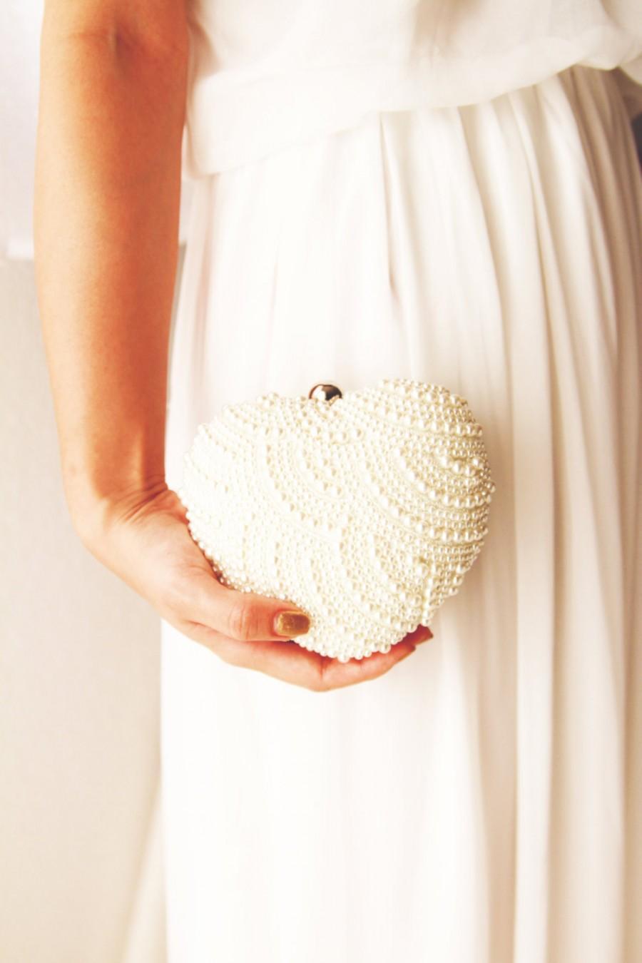 زفاف - Pearl Clutch Bag - Hand Beaded Ivory Pearls Bridal Wedding Prom Pageant Evening Clutch Formal Purse Bouquet Clutch