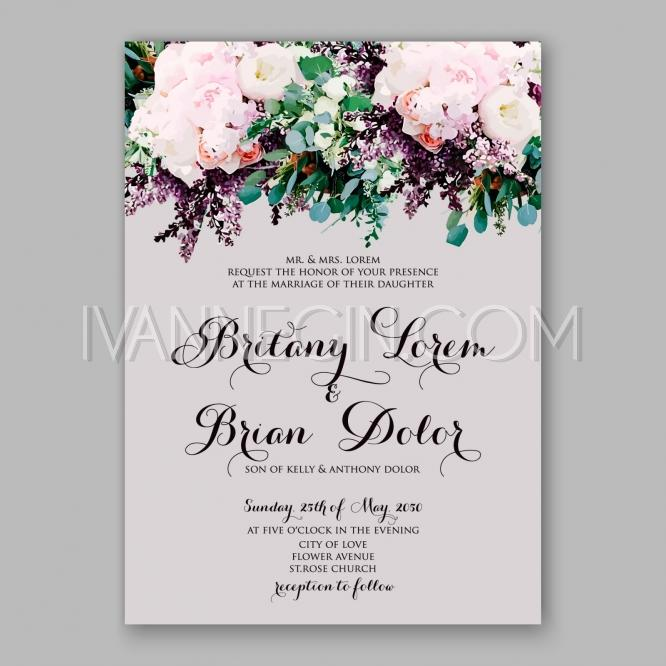Wedding - Peony wedding invitation printable template with floral wreath or bouquet of rose flower and daisy - Unique vector illustrations, christmas cards, wedding invitations, images and photos by Ivan Negin