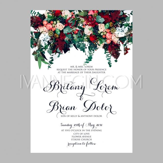 Boda - Peony wedding invitation printable template with floral wreath or bouquet of rose flower and daisy - Unique vector illustrations, christmas cards, wedding invitations, images and photos by Ivan Negin