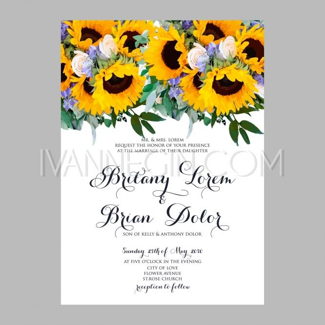 Mariage - Sunflower wedding invitation printable template with floral wreath or bouquet of rose flower and dai - Unique vector illustrations, christmas cards, wedding invitations, images and photos by Ivan Negin