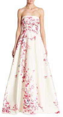 Mariage - Monique Lhuillier Floral Strapless Ball Gown