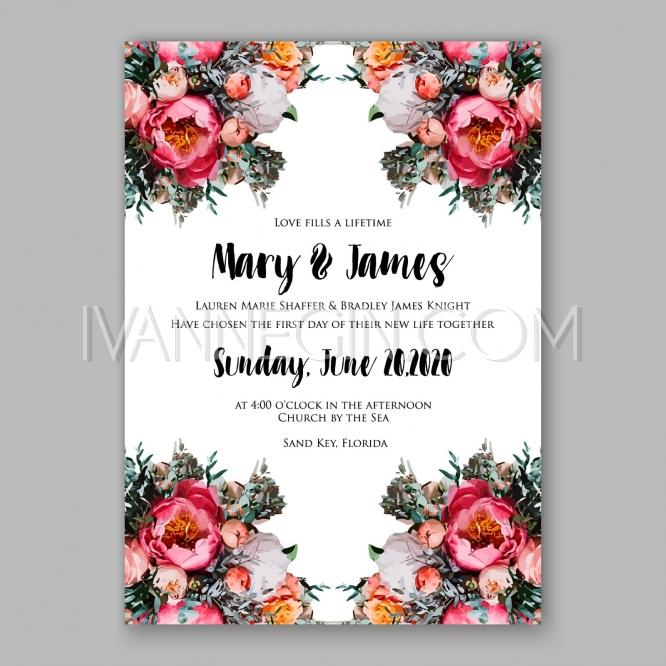 Peony Wedding Invitation Printable Template With Floral Wreath Or Bouquet Of Rose Flower And