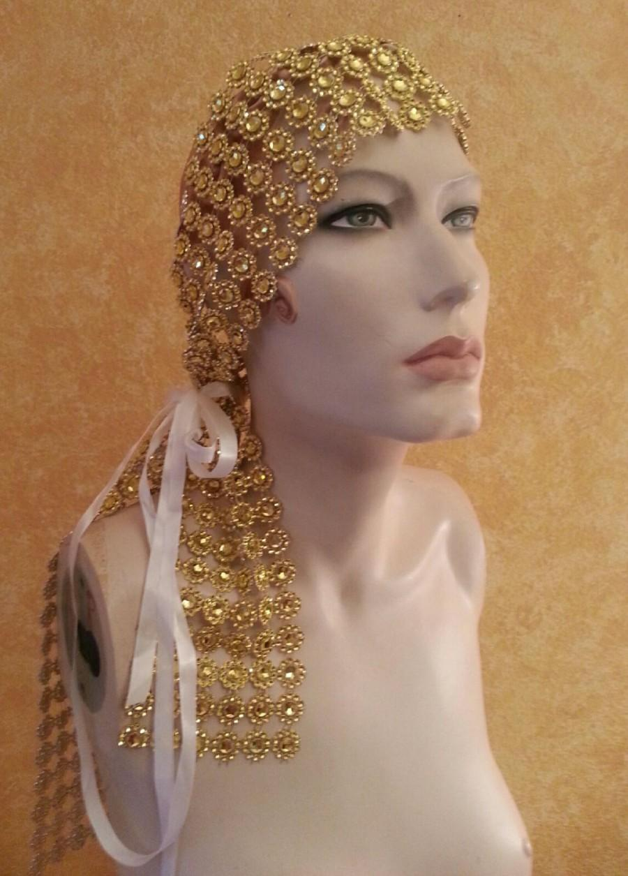 Свадьба - Golden Gatsby Goddess Illusion Jewel Mesh Satin Bridal Headpiece Wedding Party Costume