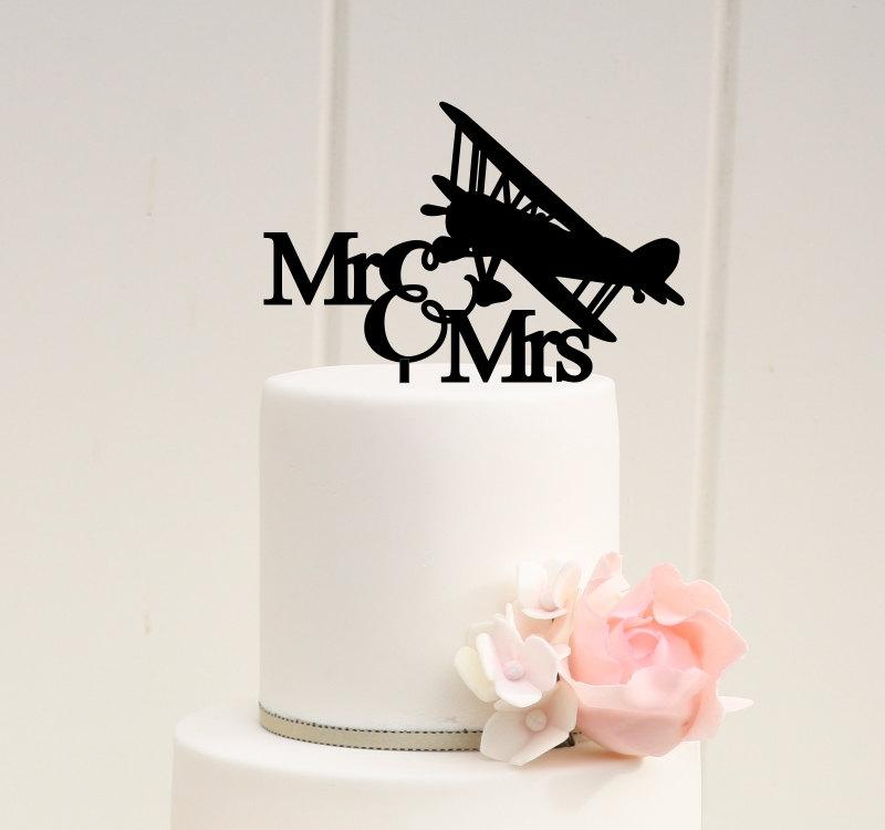 Свадьба - Original Airplane Wedding Cake Topper Mr and Mrs Biplane Cake Topper