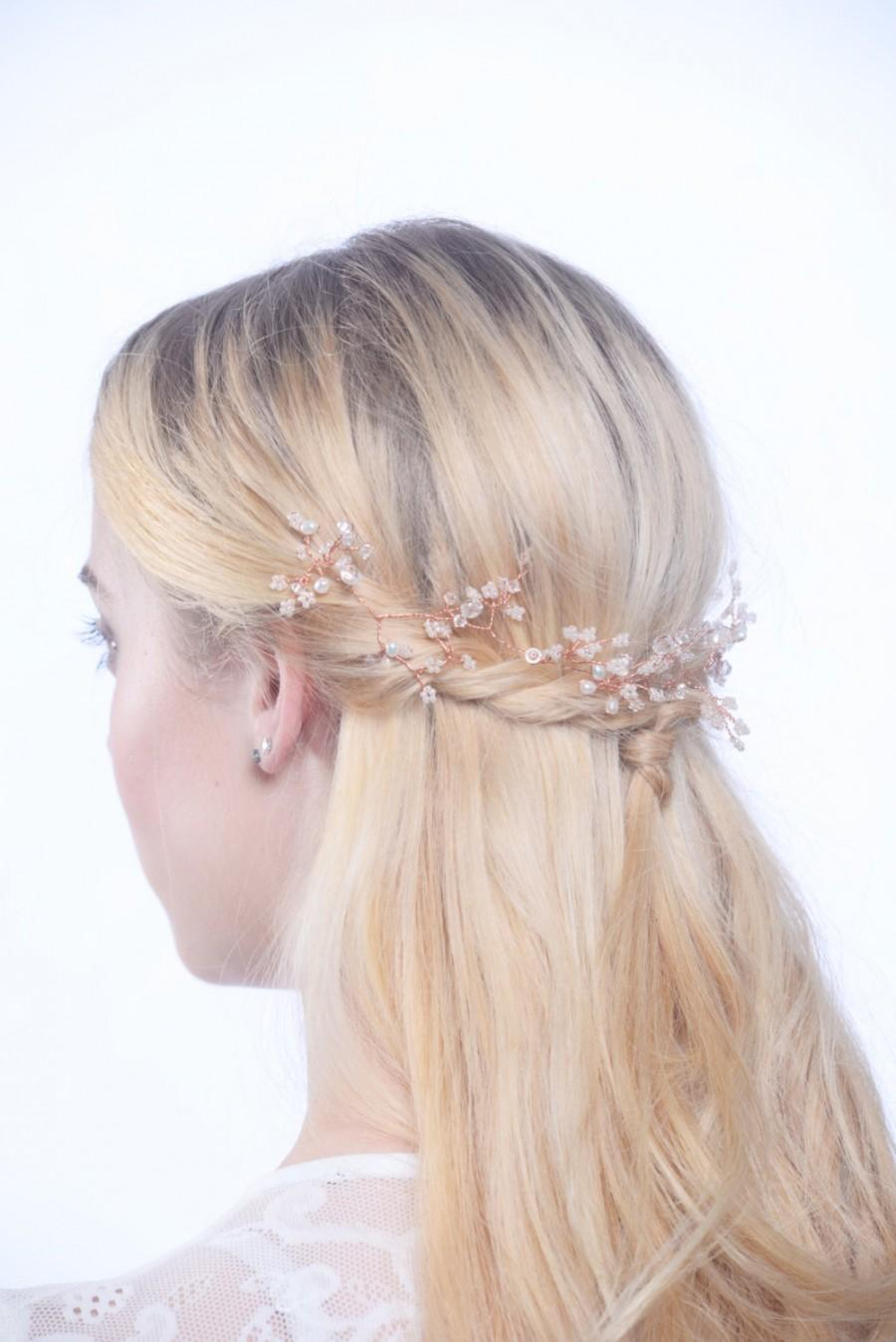 Mariage - rose gold hair vine, rose gold headpiece, bridal headpiece, hair vine, rustic hair vine, bridal hair vine, wedding headband, bridal wreath