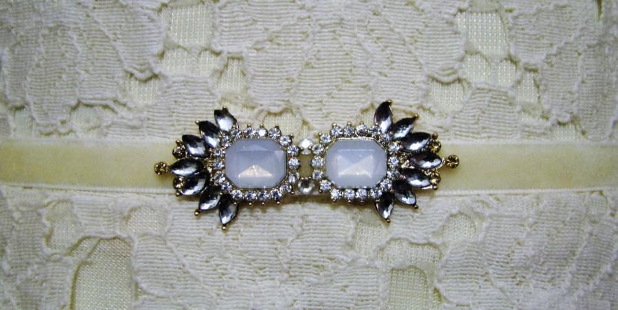 Mariage - Soft Blue, Opal & Crystal Velvet  Bridal Sash / Belt Vintage Art Deco Inspired