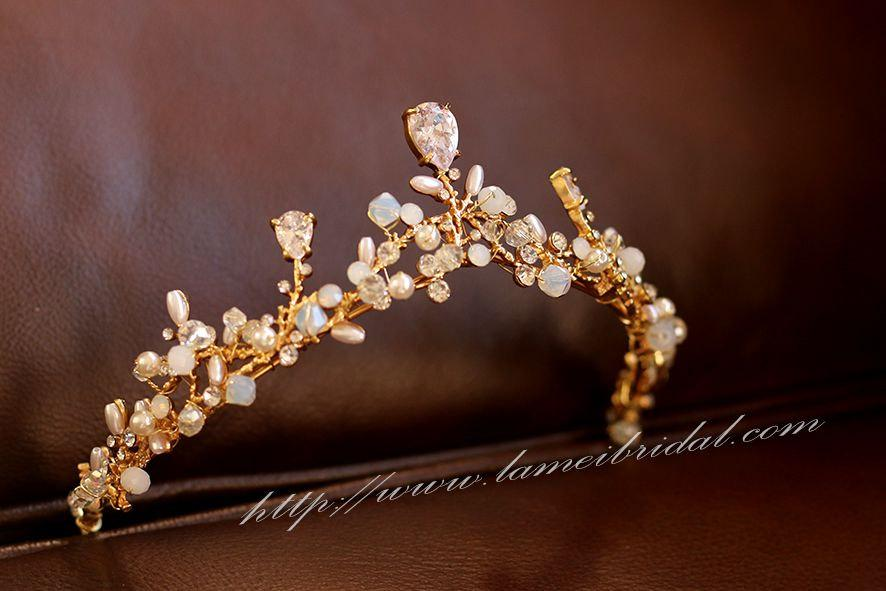 Mariage - Woodland Princess Zirconia Crystal Wedding Tiara-Gold beaded bridal crown- Zircon Rhinestone wedding Crown