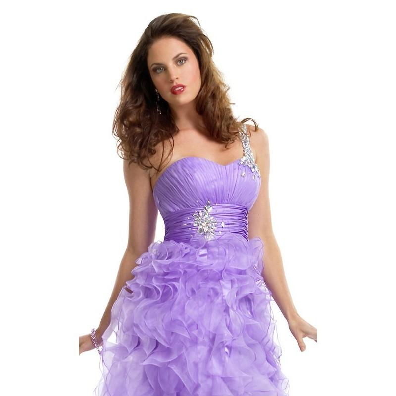 Mariage - One Shoulder Ruffled High-Low Organza Long Prom Dresses In Canada Prom Dress Prices - dressosity.com