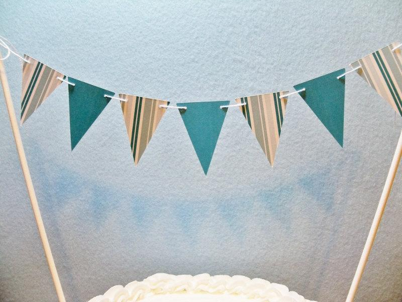 Boda - Teal Cake Topper Banner, Stripes and Solids