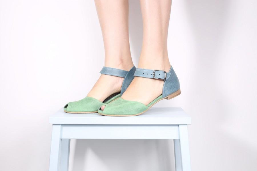 Mariage - Peep toe leather sandals , handmade leather sandals , blue and green sandals ADIKILAV ,handmade