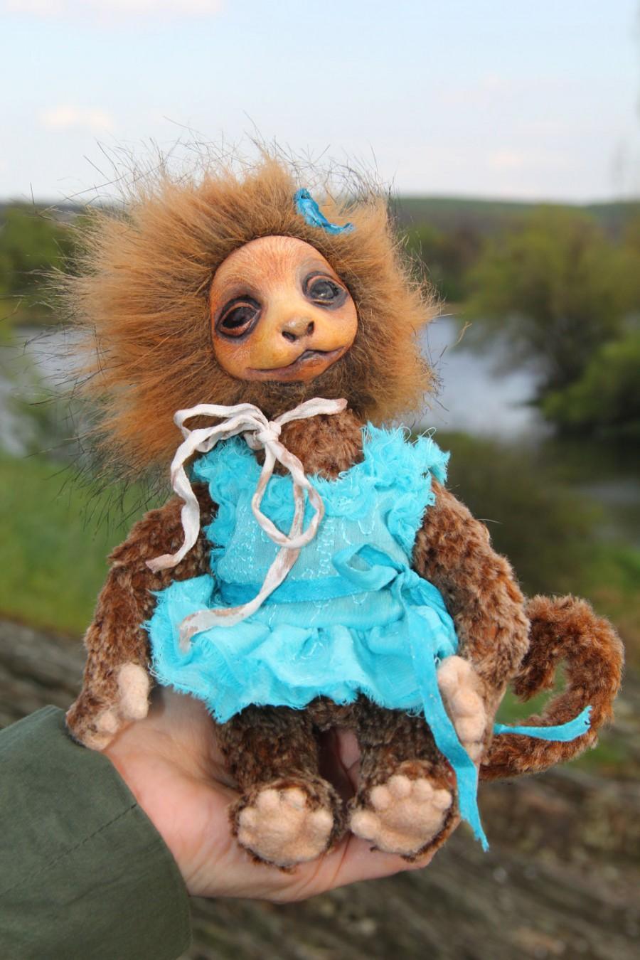 Wedding - Art Doll Teddy Doll Monkey Madhavi. Height 8 inches (20 cm).