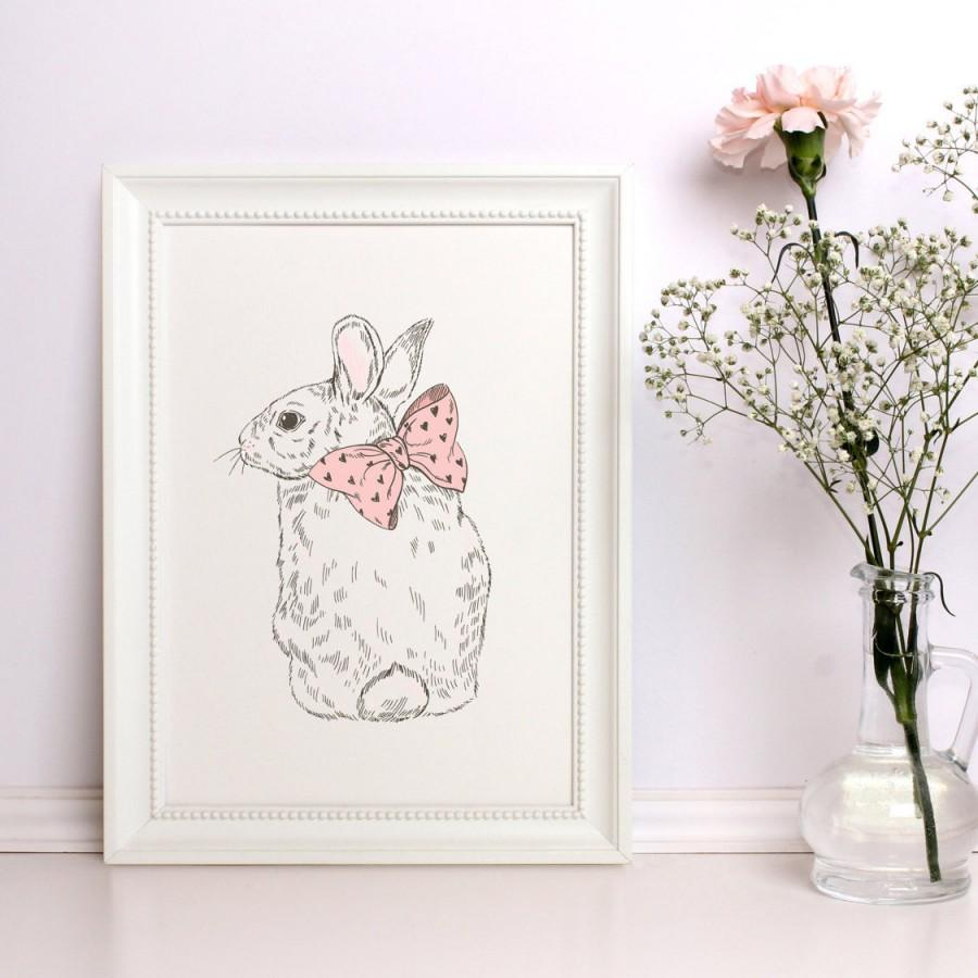 Baby Nursery Decor Animal Print Rabbit Nice Woodland Prints Wall Art Digital