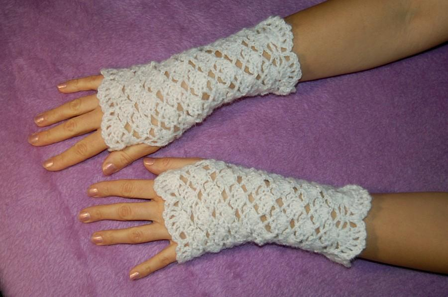 Hochzeit - Mittens READY to SHIP Mitts Handmade Arm Warmers Fingerless Gloves Knitted Crochet Women's Spring Fashion Stylish Gloves