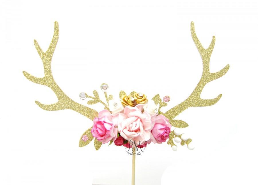 Hochzeit - Gold Glitter & Pink Floral Antler Cake Topper - Wedding cake topper, antler cake topper, boho cake topper, boho party, floral antlers