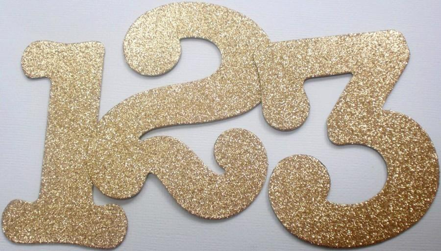 """Свадьба - 3.5"""" Wedding Table Numbers - GLiTTER Top Coat CHiPBOARD - Boutique Font - Color Choices ....Sand Gold Shown"""