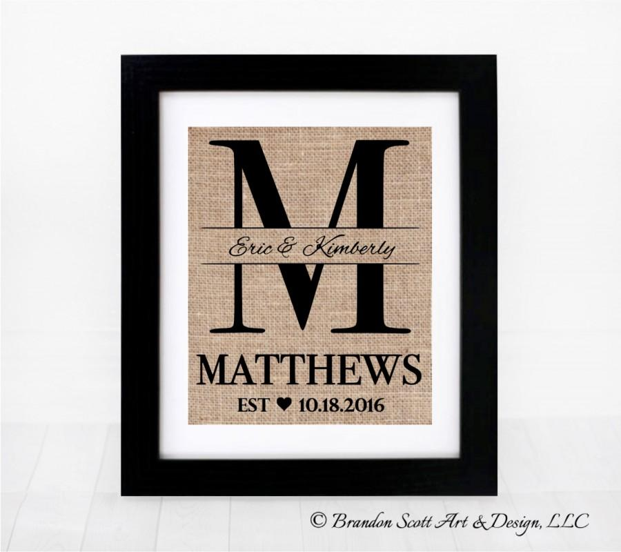 Burlap Monogram Bridal Shower Gift Burlap Wedding Anniversary Last Name Est Sign Personalized Wedding Gift For Couple 2673410 Weddbook