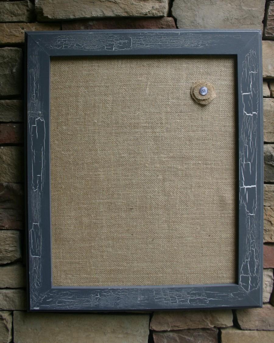"Свадьба - 18x22"" Gray VintageStyle Frame with Burlap Cork Board"