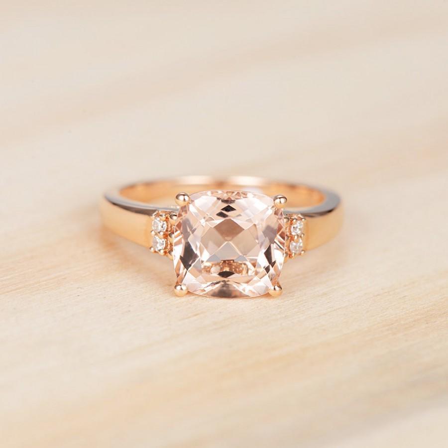 Свадьба - Morganite Engagement Ring Cushion Cut Morganite Ring Rose Gold Ring Antique Morganite Ring  Diamond Band Anniversary Ring Promise Ring
