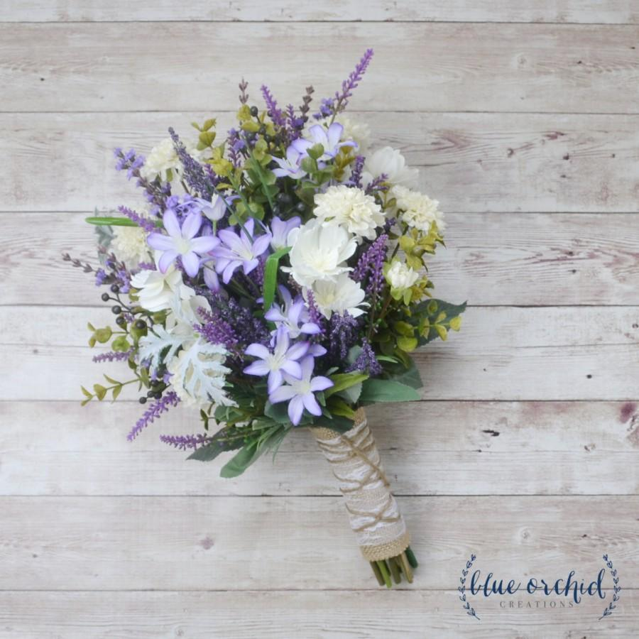 Свадьба - Wildflower Bouquet - Lavender Bouquet, Purple Bouquet, Fall Bouquet, Boho Bouquet, Rustic Bouquet, Silk Flowers, Artificial Lavender, Faux